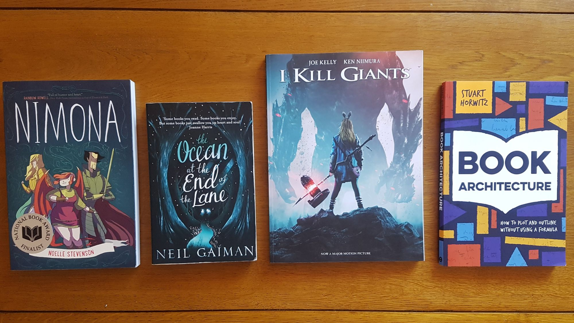 Nimona by Noelle Stevenson, Ocean at the End of the Lane by Neil Gaiman, I Kill Giants by Joe Kelly, Book Architecture by Stuart Horwitz.